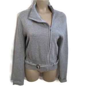 Mossimo Gray Knit Belted Zip Jacket M